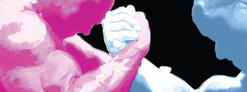 Pink and light blue at war