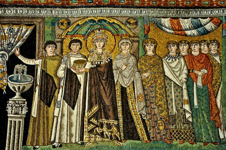 The Empress Theodora, (wife of Justinian 1) and attendants, 6th century mosaic, from the Basilica of San Vitale, Ravenna.