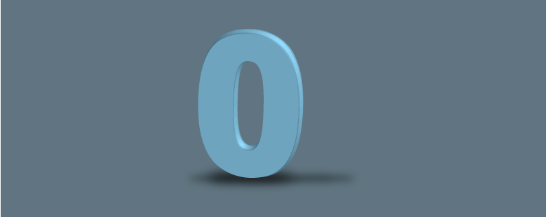 Banner of the number zero alone in empty space.