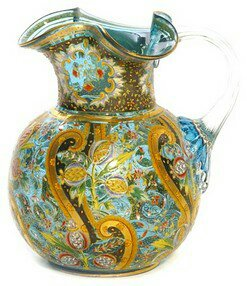 Moser vase with Prussian blue and gold