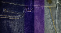 Banner of Denim Jeans with Various Colour Strips of Indigo