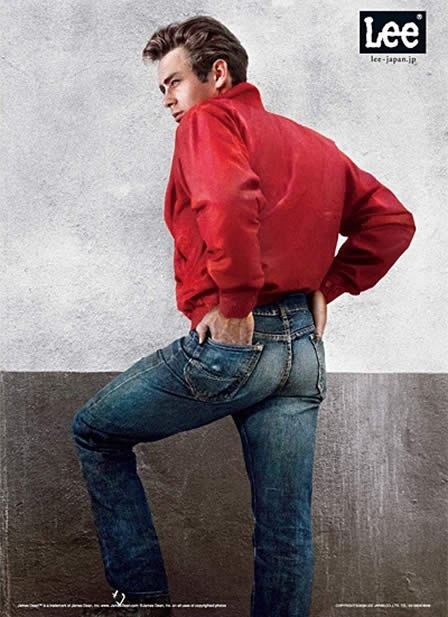 Image of an advertisement from the 1990's for Lee's Jeans with James Dean