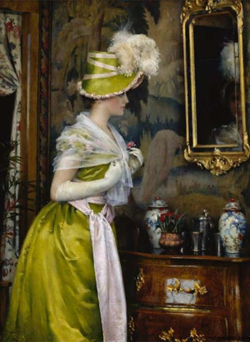 Painting - The Mirror - Gunnar Berndtson, 1889