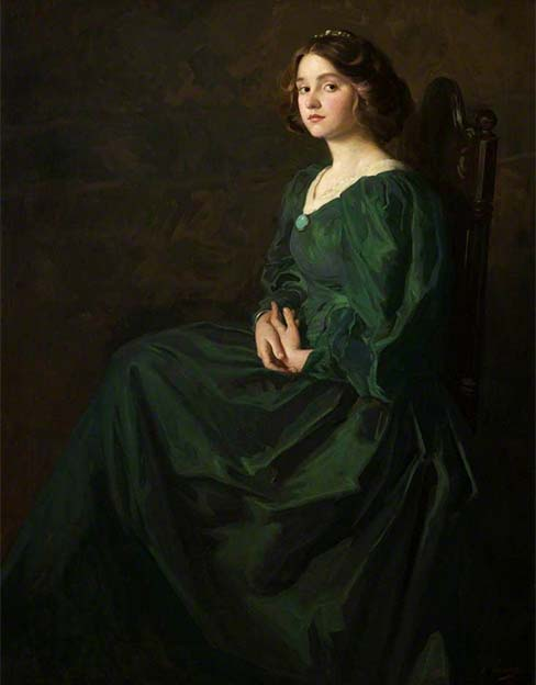 Painting - The Green Gown - Thomas Edwin Mostyn, 19th Century