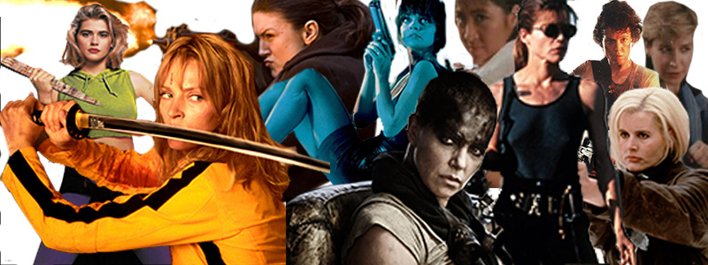 Banner of female action movie stars