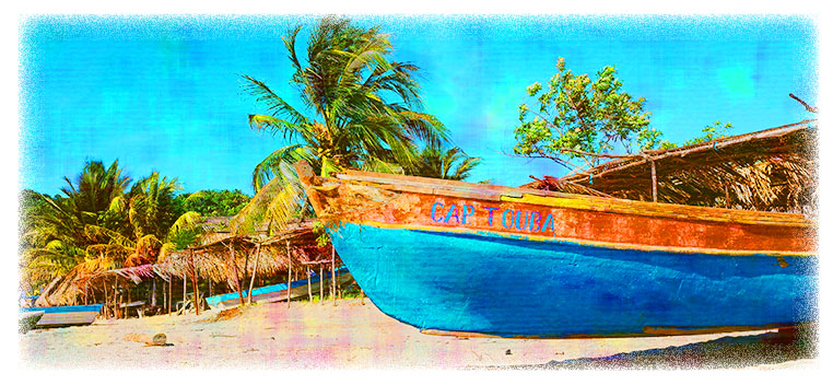 Banner of a boat on a Caribbean beach