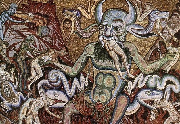 A blue devil with horns, mid aged with snakes coming out of his head eating people whole.