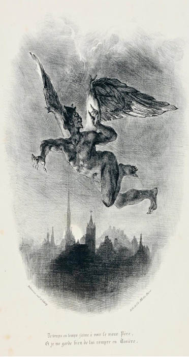 Black and white illustration of Mephistopheles Flying over the Cit