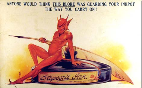 Advertisement of Stepson's Ink with devil illustration