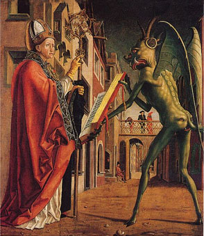 Painting of Saint Wolfgang and the Devil - Michael Pacher - 1471-75. Source: WIkipedia.