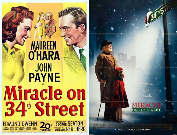 Movie posters for both of the versions of Miracle on 34th Street