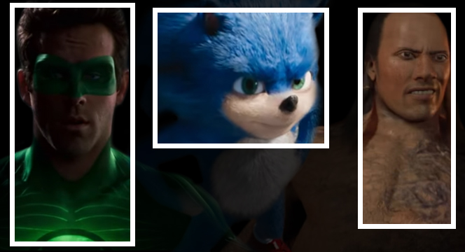 Banner of CGI Being as realistic as real life. The banner showcases the downturn graphics of Green Lantern, Sonic the Hedgehog and The Scorpion King
