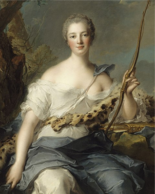 Madame de Pompadour (1722–1764), mistress of Louis XV, represented as Diana the Huntress. Painted by Jean-Marc Nattier in 1746. Source: Wikipedia.