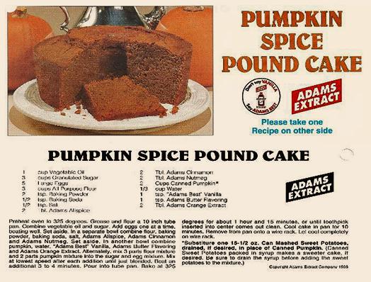 Image of Recipe: Pumpkin Spice Pound Cake