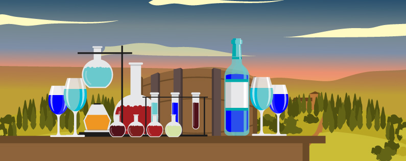 Illustrated image of a chemistry set, barrel and two glasses of wine at a winery.