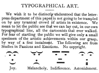 Puck magazine excerpt about Typographical Art with joy, melancholy, indifference and astonishment using punctuation.