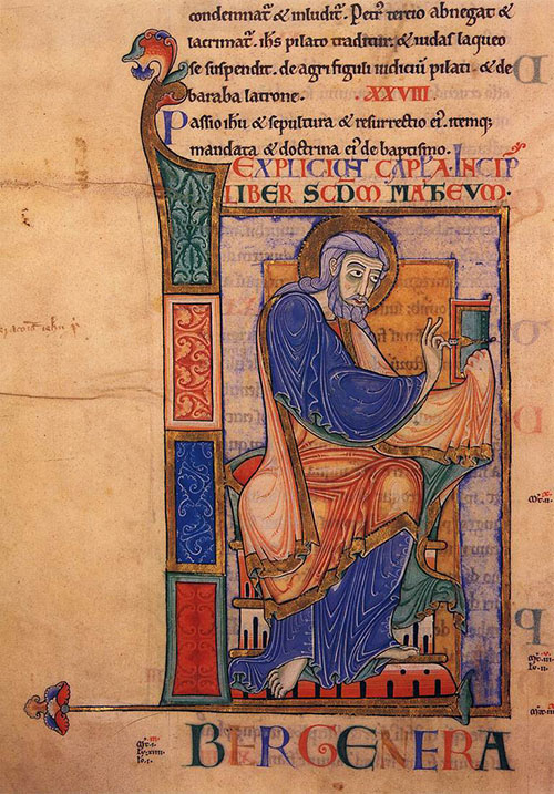 Image of a page from Dover Bible  c. 1150. A man is sitting in blue robes on a chair in an illustrated block.