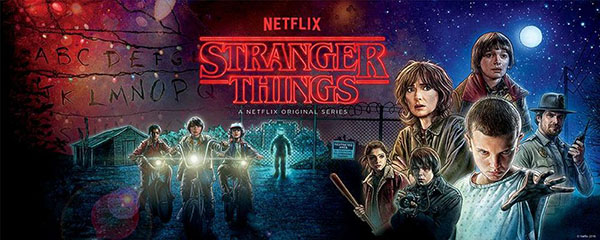 Netflix Stranger Things in outlined font from a Stephen King novel in red with glow in the center of the poster. To the left: the alphabet lettering resembling first season events. The boys on their bicycles at night in front of a shed and spooky guy with a glowing face in front of a fence. To the right from the top: The moonlight then Will Byers, Joyce Byers, Eleven with hands grabbing outwards in hospital clothes, Jim Hopper, Nancy Wheeler, Johnathan Byers.