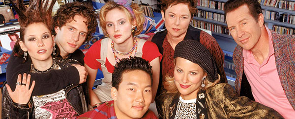 Photo of the short lived television show for That 80's Show. From the left: June Tuesday (Chysler Leigh), Corey Howard (Glenn Howerton), Kaite Howard (Tinsley Grimes), Roger Park (Eddie Shin), Margaret (Margaret Smith), Sophia (Brittany Daniels) and RT Howard (Geoff Pierson)