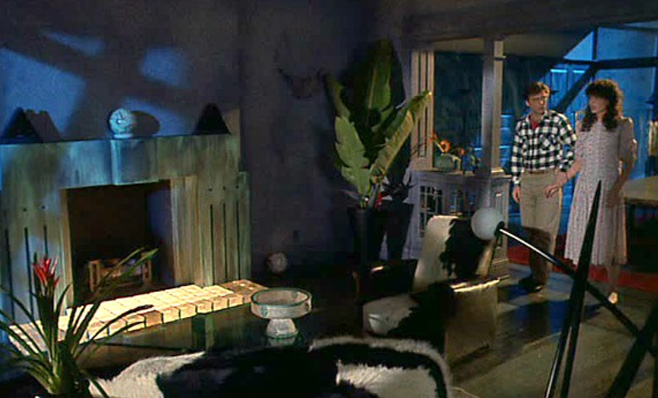 Screenshot of Beetlejuice. The couple comes back to a completely different interior design of their former home.