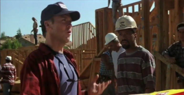 Screenshot of Multiplicity. Doug at the construction site talking to workers.