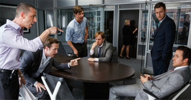 Screenshot of The Big Short. Board meeting at Goldman Sachs screaming at Deutsche Bank salesman.