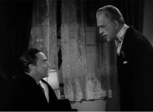 Screenshot from Black Friday (1940) with Boris Karloff and Stanley Ridges.