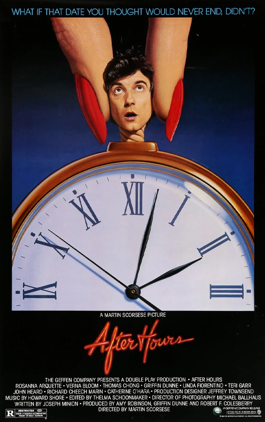 The original poster to Martin Scorsese's After Hours. A man's head is being twisted by larger female fingers with red salon nails. The man is looking up at the woman. The man's head is attached to a pocketwatch with the two hours and two minutes on the face.
