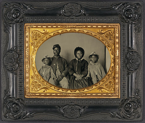 Ambrotype Photograph - Unidentified African American soldier in Union uniform with wife and two daughters