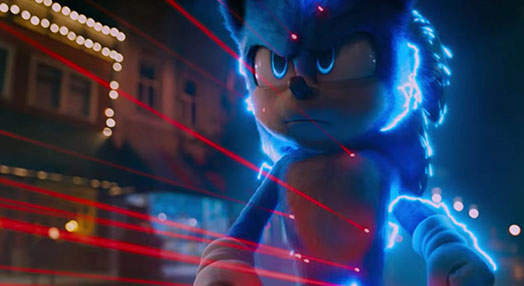 Sonic is facing down Dr. Robotnik supercharged in blue with red lasers pointing at him.