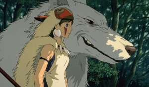 Moro (a giant white wolf God) and San (a young woman with face paint and a beige fur cape)looking on in a forest.