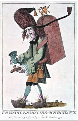 An illustration of a limondier dressed with his metallic container of lemonade.